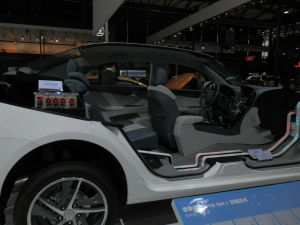 BYD was showing off its newest dual-mode hybrid drivetrain, on the next gen DMII Qin car.