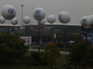 It was a cold and rainy at the Shanghai Auto Show, and the venue streches endlessly.