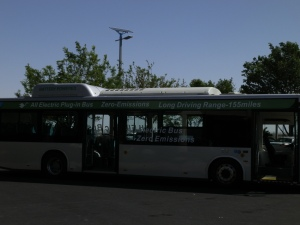BYD electric bus at Lancaster, CA plant launch